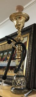 Shisha Pipe Large Khalil Mamoon Gold and Black Ice