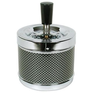 Spinning Ashtray Chrome (Large Round) Carbon Fibre Band
