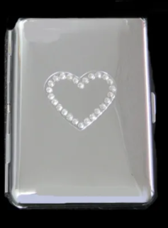 Cigarette Case Metal - Large Size - High Polish Chrome - with Crystal Heart