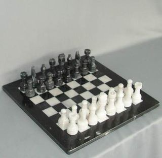 Marble Chess Set - Black and White on 16 inch Board - All in Marble