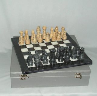 Marble Chess Set - Black and Fossil on 12 inch Board - Leatherette Case