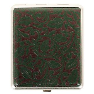 Cigarette Case Metal - Large Medium Size - Arizona Brown/Green Leatherette Finish