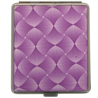 Cigarette Case Metal - Large Medium Size - Purple Swirl Leatherette Finish