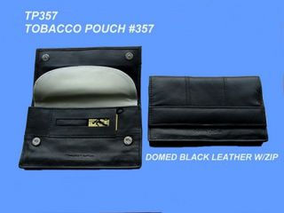 Tobacco Pouch Black Leather Double Hidden Stud Panelled