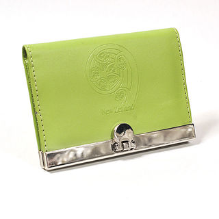 Card Holder Lime Green Leatherette with 3 Compartments and Embossed Koru