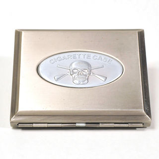 Cigarette Case Metal - Large Size - Pewter Finish without Skull on Lid (Fell Off)