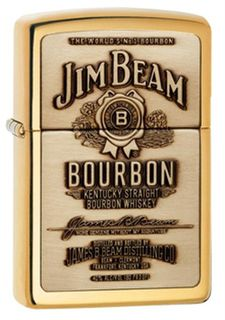 Zippo High Polish Brass Jim Beam Full Label on Brass Chip