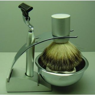 Comoy 3083 Badger Shave Set Chrome with Bowl