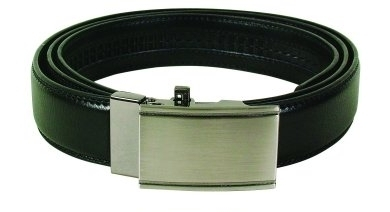 Leather Belt Men's Black with Silver Buckle (120cm)
