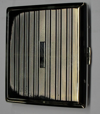 Cigarette Case Metal - Medium Size - Chrome Linear Pattern Finish