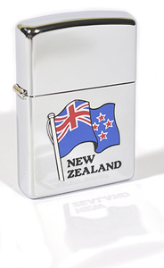 Zippo Brushed Chrome New Zealand Flag (Engraved)