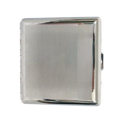 Cigarette Case Metal - Medium Size - Chrome Patterned Finish DS4186