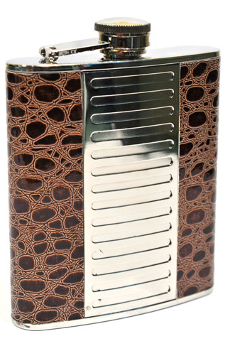 Hip Flask Polished Chrome with Brown Faux Crocodile Skin Edge Panels 7oz