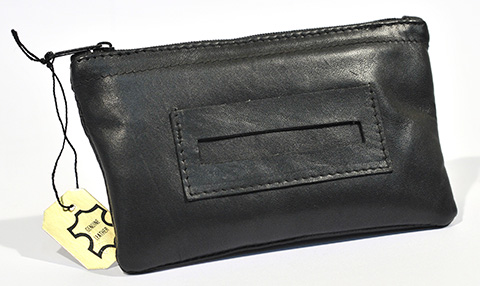 Tobacco Pouch Black Leather Zippered