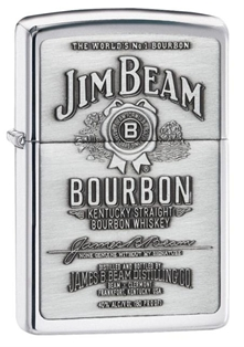 Zippo High Polish Chrome Jim Beam Label Embossed on Pewter Chip