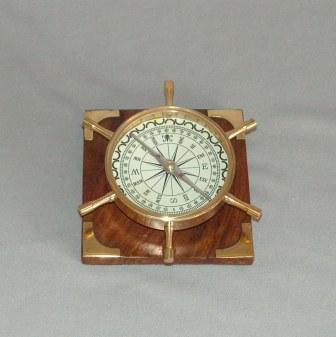 Brass Replica Ship's Wheel Compass (240mm Diameter)
