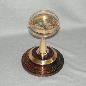 Brass Gimballed Compass (17cm High)