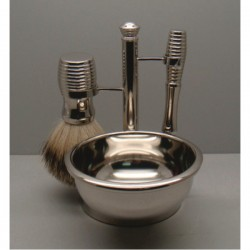 Comoy 3096 Badger Shave Set Nickel with Bowl