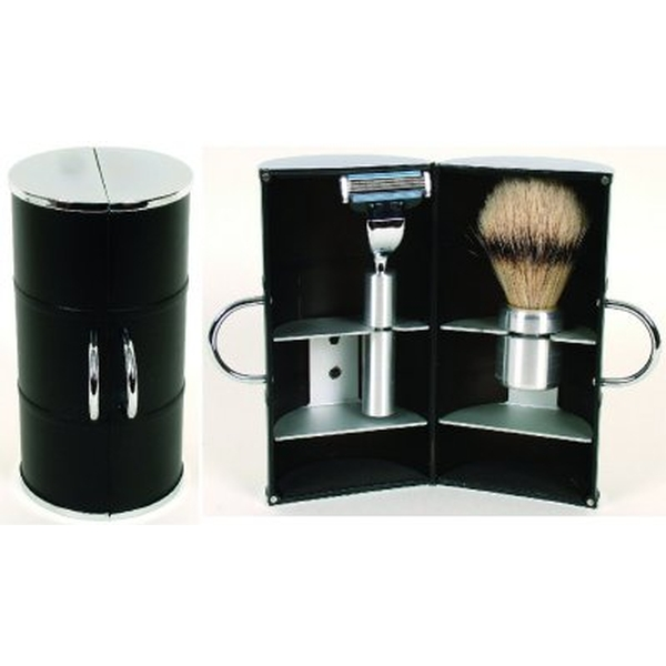 Comoy 3044 Black Shave Brush & Razor Travel Set