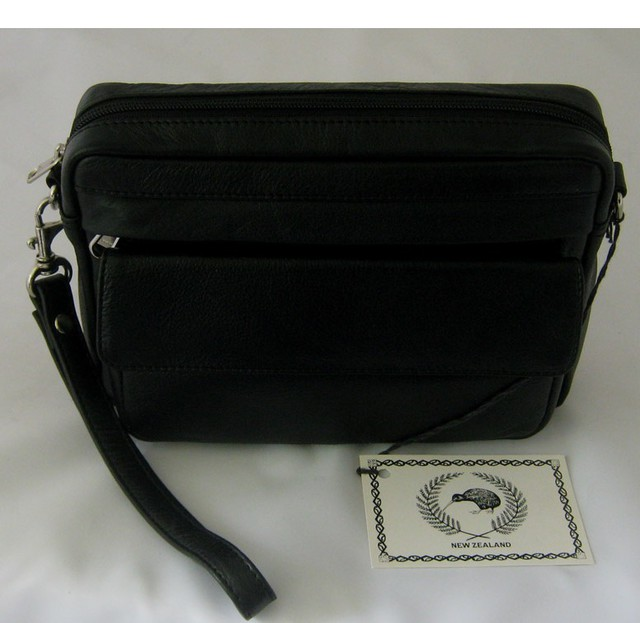 Baron Black Leather Clutch Bag