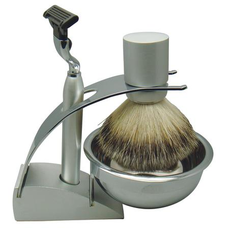 Comoy 3083 Badger Shave Set Silver with Bowl