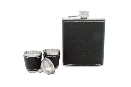 Hip Flask Coyote Polished Chrome Black Leatherette Set 8 oz and 2 Cups