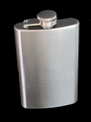 Hip Flask Brushed Chrome 5oz Tall
