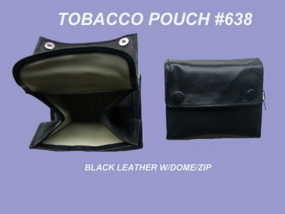 Tobacco Pouch Black Leather Small with Concertina-Style Wide Pouch