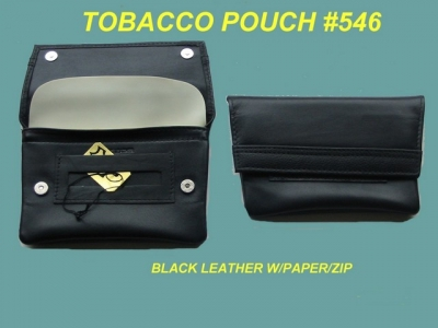 Tobacco Pouch Black Leather Hidden Domed Tapered