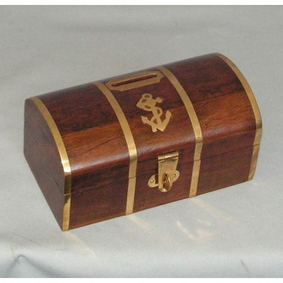 Wood with Brass Inlay Captains Trunk Money Box