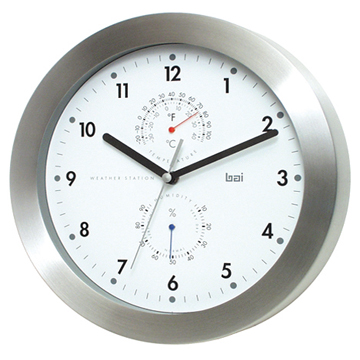 Weather Station & Wall Clock GD Stainless and White Dial 28cm
