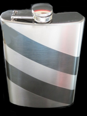 Hip Flask Chrome with Alternate Diagonal Bands of High Polish and Satin Finish 9oz