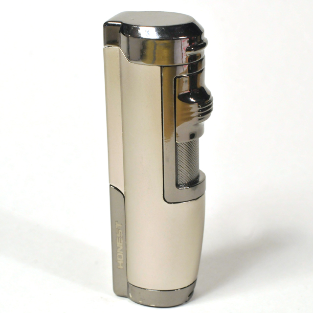 Gas Lighter Honest Brand Twin Jet -  Satin Pewter and High Polish Gunmetal Detail