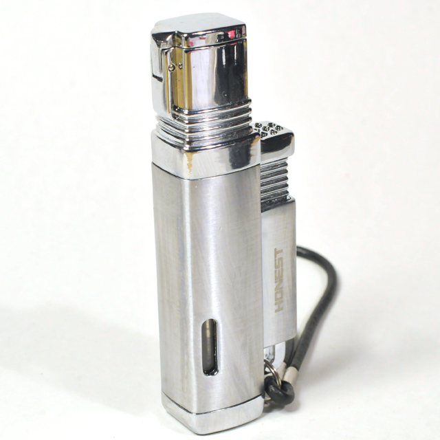 Gas Lighter Honest Brand Single Jet - High Polish and Satin Chrome