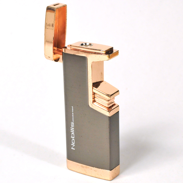 Gas Lighter Nobilis Brand Single Jet - Satin Grey and High Polish Copper Detail