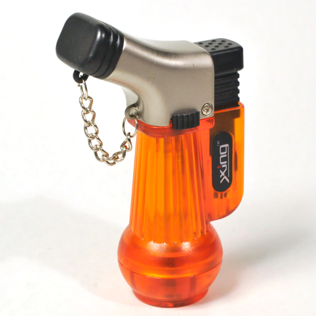 Gas Lighter Xing Brand Double Jet - Snouted in Satin Chrome with Orange and Black Acrylic