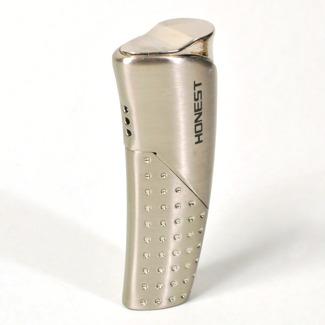 Gas Lighter Honest Brand Single Jet - High Polish and Satin Chrome with Perforated Panel