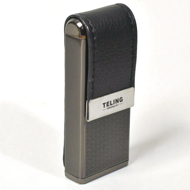 Gas Lighter Teling Brand Single Jet - Satin and High Polish Gunmetal with Black Leather Flap