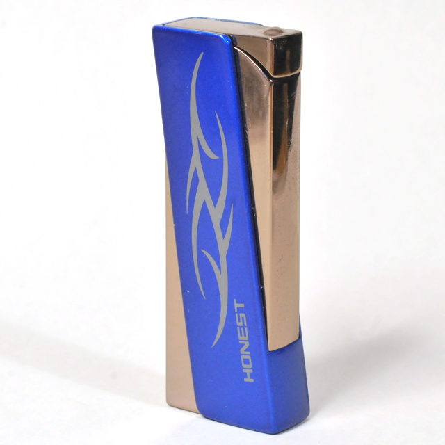 Gas Lighter Honest Brand Single Jet - High Polish Gunmetal with Mid-Blue Body Cover .