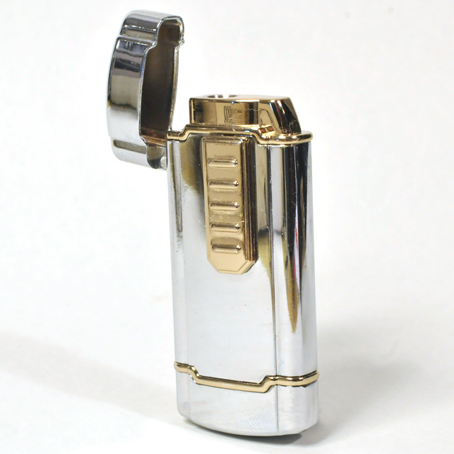 Gas Lighter Single Jet - High Polish Chrome with Brass Detailing