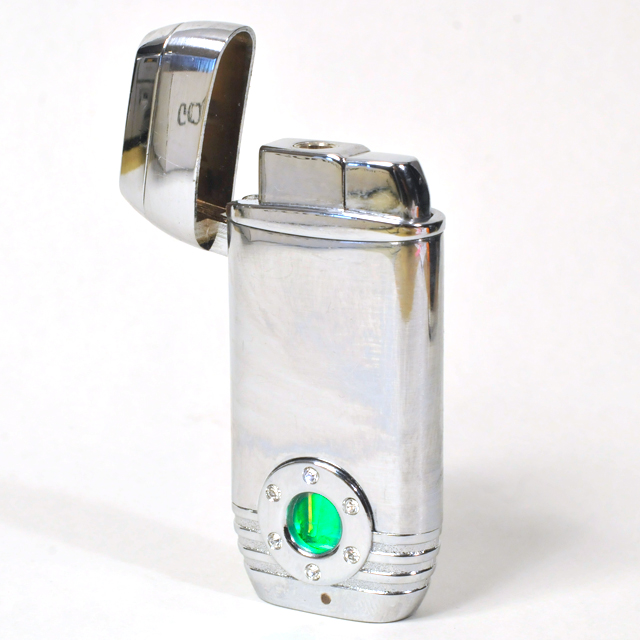 Gas Lighter Single Jet - High Polish Chrome with Green Backlit Fuel View Porthole