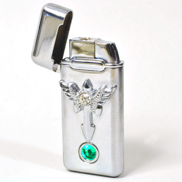 Gas Lighter Single Jet - High Polish Chrome with Wings
