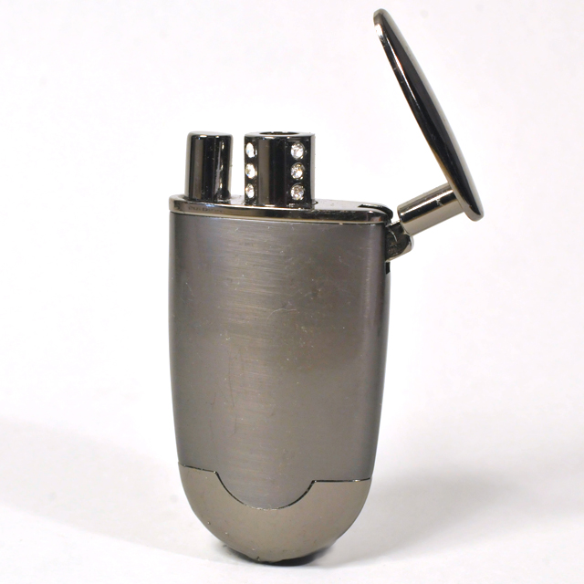 Gas Lighter Single Jet - Satin Body and High Polish Gunmetal Detail