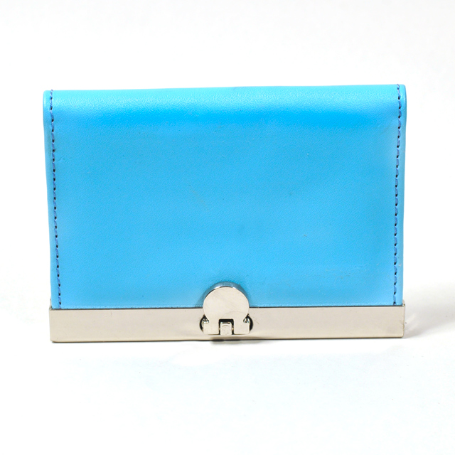 Card Holder Chrome Metal Baby Blue Leatherette with 3 Compartments