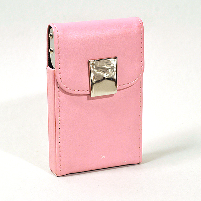 Card Holder Pink Leatherette Over Metal Frame with Chrome Catch on Card Lifting Flap