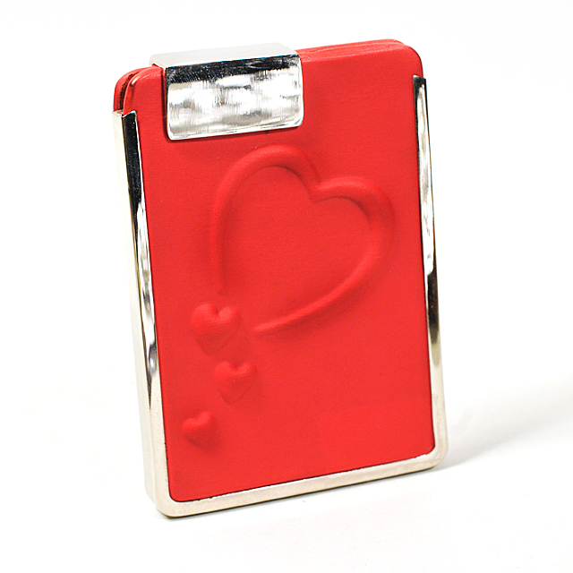 Card Holder Red Leatherette Embossed Heart High Polish Chrome Detail