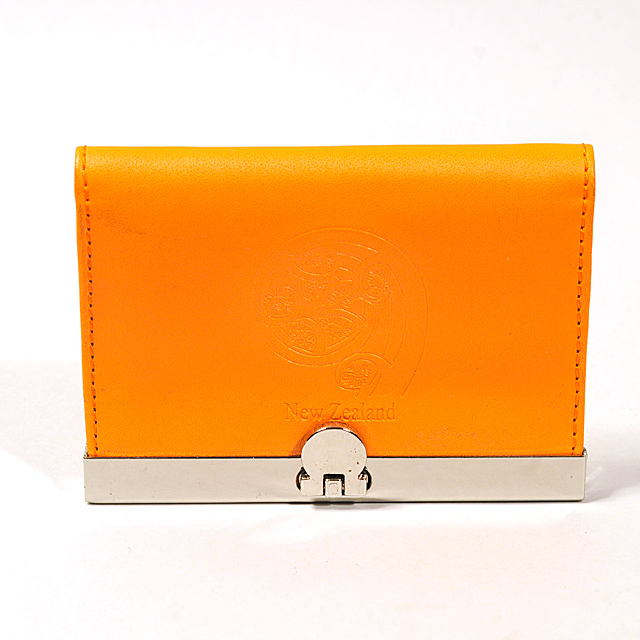 Card Holder Orange Leatherette with 3 Compartments and Embossed Koru