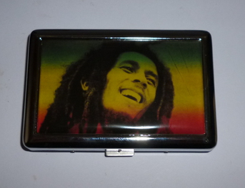 Cigarette Case Metal - Medium Size - Bob Marley Lid with Chrome Finish