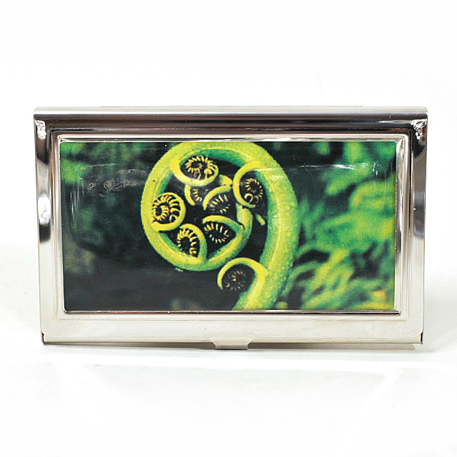 Card Holder High Polish Chrome Metal New Zealand Fern Koru
