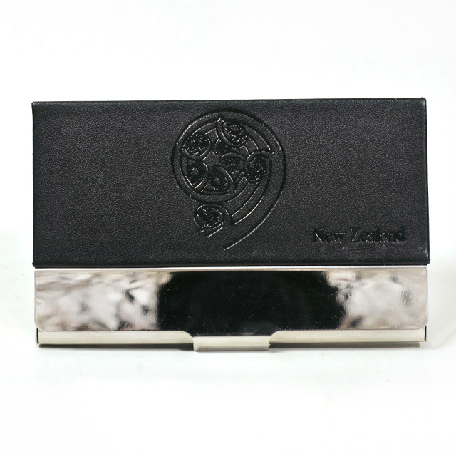 Card Holder High Polish Chrome Metal Black Leatherette with Embossed Koru
